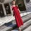 ชุดเดรสยาว MAXIDRESS พร้อมส่ง สีแดง งานสวยเลิศ แต่งระบายช่วงหน้าอก แขนสายเดี่ยว thumbnail 6