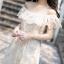MAXI DRESS ชุดเดรสยาว พร้อมส่ง สีครีม ผ้ามุ้งปักด้วยลายดอกไม้งานปราณีต thumbnail 3