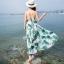 maxi dress ชุดเดรสยาว พร้อมส่ง สีพื้นขาว ลายใบไม้สีเขียว คอวีลึก สายเดี่ยว เอวล็อคผู้เชือกด้านหลัง สวยมากๆค่ะ ใส่สบาย thumbnail 3
