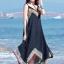 MAXI DRESS ชุดเดรสยาว พร้อมส่ง สีดำ สายเดี่ยว แต่งลวดลายกราฟิกเก๋ กระโปรงยาวบานพริ้วๆ thumbnail 4