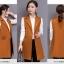 เสื้อกั๊กสูทแฟชั่น เสื้อกั๊กแฟชั่น เสื้อส้มอิฐ เสื้อสูทแขนกุด พร้อมส่ง สีส้มอิฐ เนื้อผ้า Polyester งานสวย คุณภาพดี มีซับใน ใส่สบาย thumbnail 5