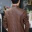 แจ็คเก็ตหนังผู้ชาย เสื้อหนังผู้ชาย สีน้ำตาล หนัง PU คุณภาพงานพรีเมี่ยม แต่งเย็บเกล็ดลายเฉียงสุดเท่ห์ หนังเนื้อนิ่ม thumbnail 2