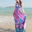 maxi dress ชุดเดรสยาว พร้อมส่ง สีฟ้า คอวีลึก สายคล้องคอผูกโบว์ ลายดอกไม้สีชมพูหวาน thumbnail 3