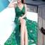 ชุดเดรสยาว MAXIDRESS พร้อมส่ง สีเขียว สายเดี่ยว คอวีลึก พิมพ์ลวดลายดอกไม้สีม่วง ผ้าชีฟอง เอวยางยืด thumbnail 5