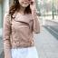 เสื้อแจ็คเก็ต เสื้อหนังแฟชั่น พร้อมส่ง สีชมพู หนังเงา แบบเท่ห์ๆ อินเทรนด์ สไตล์เกาหลี thumbnail 3