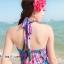 maxi dress ชุดเดรสยาว พร้อมส่ง สีฟ้า คอวีลึก สายคล้องคอผูกโบว์ ลายดอกไม้สีชมพูหวาน thumbnail 4