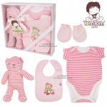 [สีชมพู] ชุดของขวัญเสื้อผ้าพร้อมตุ๊กตา 4 ชิ้น TomTom joyful (เด็กอายุ 0-6 เดือน)