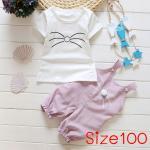 [Size100] ชุดเอี๊ยมแมวเหมียวพร้อมเสื้อแขนสั้น