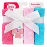 [สีชมพูช้าง] เซตผ้าเช็ดหน้าเนื้อขนหนู 4 ผืน Luvable Friends