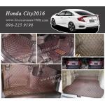 พรม 6D Honda City 2016 สีดำด้ายแดง