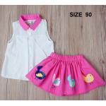 [Size90] BabyCity ชุดเสื้อพริ้วไหวกระโปรงลายลูกเจี๊ยบ Pink