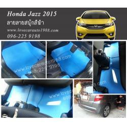 ยางปูพื้นรถยนต์ Honda Jazz 2015 ลายสนุ๊กสีฟ้า