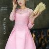 เดรสตัวเสื้อผ้าถักโครเชต์ลายดอกไม้ สีชมพู กระโปรงเป็นผ้าคอตตอนผสมสีชมพู มีลายในตัวเนื้อผ้า