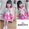 BabyCity ชุดเสื้อพริ้วไหวกระโปรงลายลูกเจี๊ยบ Pink