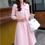 set เสื้อและกระโปรงสีชมพู