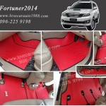 Toyota Fortuner 2014 ยางปูพื้นรถยนต์ลายกระดุมแดงขอบดำ