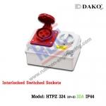 เต้ารับพร้อมสวิทช์ล็อค(HTPZ 324) (3P+E) 32A ,400V ~ ,IP44
