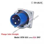 ปลั๊กตัวผู้ติดผนังฝังตรงกันน้ำ HTN 6331 (3P) 63A ,220-250V ~, IP67 ,DAKO