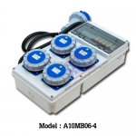 A10MB06-4 กล่องกระจายไฟ เพาเวอร์ปลั๊ก 2P+E (3P) 32A x4 / 230V ~ / IP67