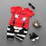 ชุดเด็กน่ารัก เสื้อแขนสั้น ลาย MY MOUSE สีแดง พร้อมกางเกงลายทางสีขาวดำ