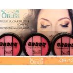 Obuse Sugar Blush OB-1301 บลัชออน 3 เฉดสีในตลับเดียว