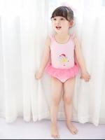 ชุดว่ายน้ำเด็กผู้หญิง One Piece สีชมพู รุ่น Angel