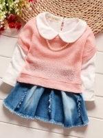 ชุดเด็กน่ารัก เซ็ต 2 ชิ้น เดรสเสื้อแขนยาวสีขาวกระโปรงสียีนส์ + เสื้อแขนสั้นตัวนอก สีชมพู