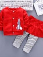 ชุดเด็กน่ารัก ชุดกันหนาว เสื้อแขนยาว ลายกระต่าย สีแดง พร้อมกางเกงกระโปรง