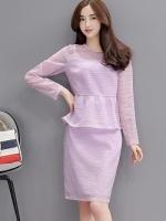set เสื้อและกระโปรงสีม่วงพาสเทลสวยหวาน