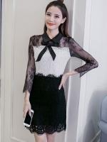 เดรสผ้าลูกไม้เนื้อดีตัวเสื้อสีขาว แขนเสื้อและกระโปรงผ้าลูกไม้สีดำ