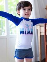 ชุดว่ายน้ำเด็กชายเสื้อแขนยาวสีน้ำเงิน - ขาว กางเกงขาสั้นสีเทา
