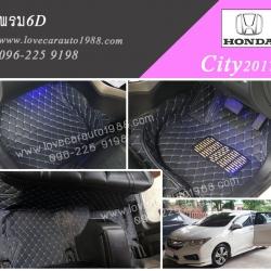 Honda city2017 พรม6D ดำด้ายด้ายฟ้า