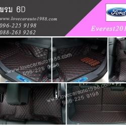 พรม6D Ford Everest2017 สีดำด้ายแดง