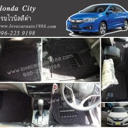 พรมปูพื้นรถยนต์ Honda City ไวนิลสีดำ
