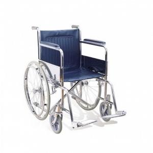 รถเข็นผู้ป่วย รถเข็นผู้สูงอายุ รถเข็นคนพิการ พับได้ชุบโครเมี่ยม ล้อ 24 นิ้ว ไม่มีเบรคมือ - สีน้ำเงิน Easy4U รุ่น 905