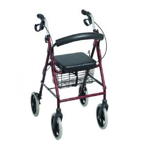 รถหัดเดินผู้ป่วย รถหัดเดินผู้สูงอายุ รถฝึกเดินคนชรา Rollator ล้อ6นิ้ว มีเบรคมือ Easy4U สีแดงเข้ม