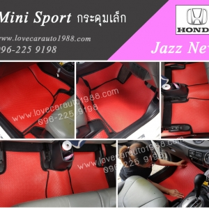 พรม Honda Jazz New กระดุมเล็ก สีแดงขอบดำ