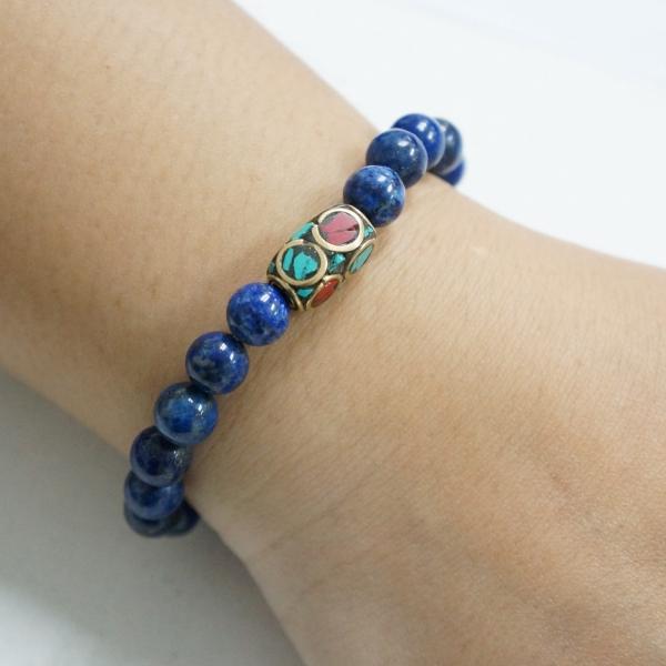 รูปภาพสินค้า Lapis Lazuli 8mm with Tibetan Bead Bracelet สร้อยข้อมือลูกปัดหินทิเบต