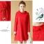 เดรสผ้าลูกไม้เนื้อดี สีแดงแขนยาว ทรงตรง คอเสื้อระบายผ้าลูกไม้ มาพร้อมสายผูกเอวเหมือนแบบ thumbnail 12