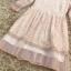 เดรสผ้าลูกไม้เนื้อดีสีชมพูโอรส แขนยาวสี่ส่วน ปลายแขนเสื้อ และชายกระโปรง แต่งด้วยผ้าชีไหมแก้วสีชมพูอัด thumbnail 14