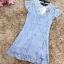 เดรสผ้าลูกไม้เนื้อดีสีฟ้า หน้าอกเสื้อแต่งด้วยผ้าโปร่งซีทรูสีครีมรูปตัววี คาดแถบผ้ายืดเนื้อเงาวิ้ง thumbnail 16