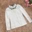 เสื้อผ้าลูกไม้สีขาวแขนยาว รอบคอเสื้อแต่งด้วยผ้าถักและมุกสีขาว ถัดลงมาจากคอเสื้อเป็นผ้าโปร่งซีทรู thumbnail 14
