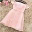 เดรสออกงานสุดหรู ตัวชุดเป็นผ้าลูกไม้ปักสีชมพูโอรส ดีไซน์เปิดไหล่ ปิดต้นแขน ที่เอวแต่งด้วยผ้ารูปดอกไม้ thumbnail 7