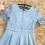 เดรสตัวเสื้อผ้าลูกไม้เนื้อนิ่มสีฟ้า แขนสั้น ปลายแขนเสื้อแต่งด้วยผ้าถักโครเชต์ รูปดอกไม้ thumbnail 18
