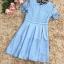 เดรสตัวเสื้อผ้าลูกไม้เนื้อนิ่มสีฟ้า แขนสั้น ปลายแขนเสื้อแต่งด้วยผ้าถักโครเชต์ รูปดอกไม้ thumbnail 19