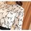เดรสผ้าชีฟองเนื้อดีสีขาว ปักด้ายลายใบไม้เล็กๆๆสีดำ และมีผ้าถักรูปดอกไม้เล็กๆๆสีขาวลอยออกมาจากตัวชุด thumbnail 13