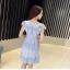 เดรสผ้าลูกไม้สีฟ้า เย็บทอผสมกับผ้าถักโครเชต์ที่ช่วงไหล่ และกระโปรง thumbnail 7