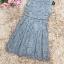 เดรสผ้าลูกไม้เนื้อดีสีเทา แขนกุด ตรงกลางหน้าอกเสื้อ เป็นผ้าชีฟองสีขาวอัดพลีต thumbnail 12