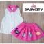 BabyCity ชุดเสื้อพริ้วไหวกระโปรงลายลูกเจี๊ยบ Pink thumbnail 6