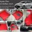 พรมปูพื้นรถยนต์ไวนิล Toyota Vios 2012 สีแดง ขอบดำ รถดำ